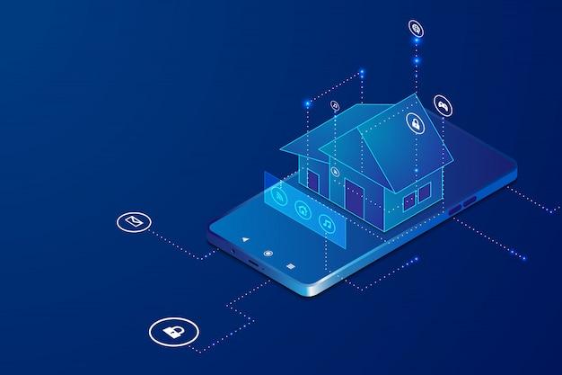 Inteligentny dom z bezprzewodową kontrolą koncepcji izometrycznej.