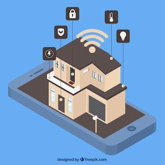 Inteligentny dom z kontrolą smartfona w stylu izometrycznym