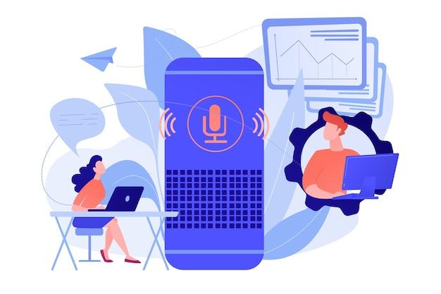 Inteligentny głośnik używany przez pracowników biurowych. inteligentny kontroler biurowy i polecenia głosowe, cyfrowe urządzenia biurowe sterowane głosem i koncepcja internetu rzeczy. ilustracja wektorowa na białym tle