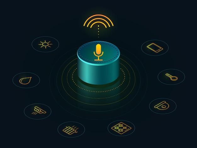 Inteligentny głośnik z funkcją sterowania głosowego w domu. raporty z aktywowanymi głosem, odpowiedzi qu