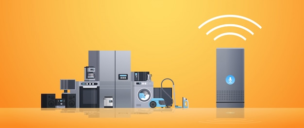 Inteligentny inteligentny asystent domowy głośnik sterujący różnymi urządzeniami agd koncepcja sieci płaskiej