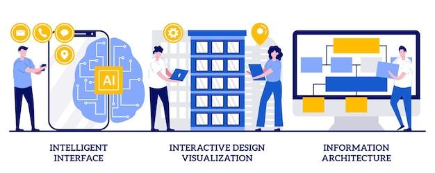 Inteligentny interfejs, interaktywna wizualizacja projektu, koncepcja architektury informacji z małymi ludźmi. zestaw ilustracji wektorowych rozwoju oprogramowania. inżynieria użyteczności, metafora projektowania stron internetowych.