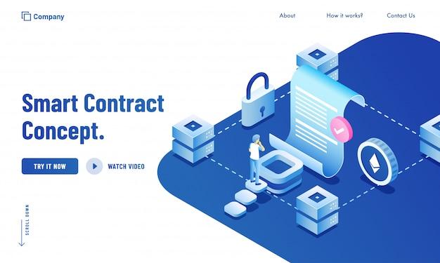Inteligentny kontrakt infographic koncepcja