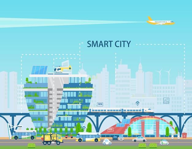 Inteligentny krajobraz miejski z nowoczesnymi budynkami, pociągiem, elektrobusami i samochodami, bateriami słonecznymi, siecią rzeczy, ikonami. miasto przyszłości koncepcji. płaska ilustracja.
