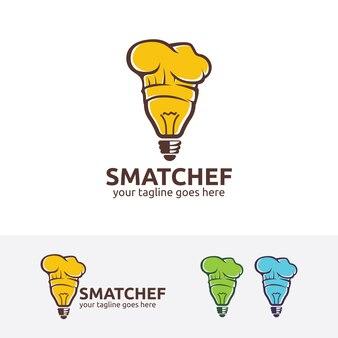 Inteligentny kucharz wektor logo szablon