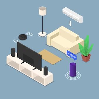 Inteligentny pokój z różnymi urządzeniami i meblami