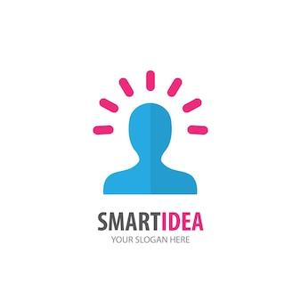 Inteligentny pomysł logo dla firmy biznesowej. prosty projekt pomysłu logotypu smart pomysł. koncepcja tożsamości korporacyjnej. ikona kreatywny inteligentny pomysł z kolekcji akcesoriów.