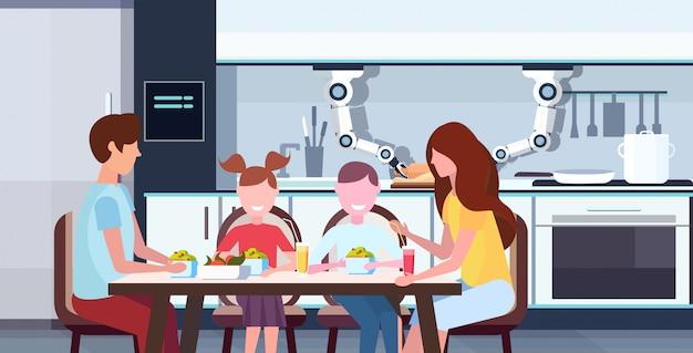 Inteligentny poręczny robot szef kuchni toczenia ciasta dla rodziny siedzącej przy stole jadalnym robot asystent innowacji technologia sztuczna inteligencja koncepcja nowoczesna kuchnia wnętrze portret poziomy