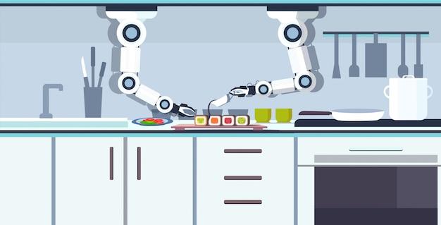 Inteligentny poręczny szef kuchni robot przygotowuje sushi robot robot asystent innowacja technologia sztuczna inteligencja koncepcja nowoczesna kuchnia wnętrze poziomej