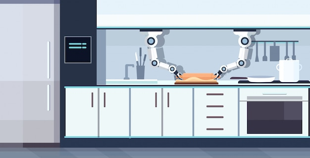 Inteligentny poręczny szef kuchni robot toczenia ciasta na pokładzie robot asystent innowacja technologia sztuczna inteligencja koncepcja nowoczesna kuchnia wnętrze poziome