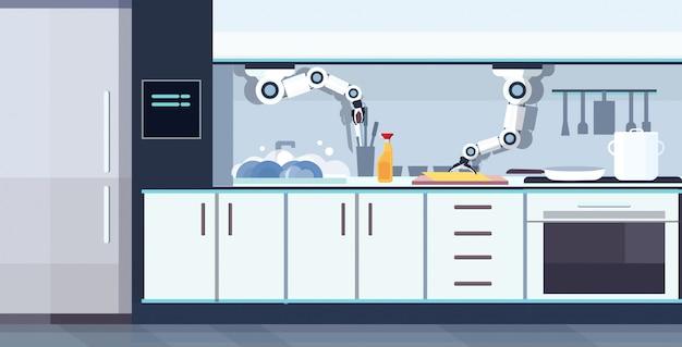 Inteligentny poręczny szef kuchni robot zmywanie naczyń robot asystent innowacja technologia sztuczna inteligencja koncepcja nowoczesna kuchnia wnętrze poziomej