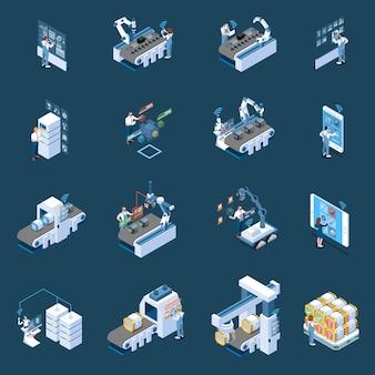 Inteligentny przemysł z zautomatyzowanym produkcyjnym zdalnym sterowaniem i produkcyjnym centrum danych izometrycznymi ikonami odizolowywać
