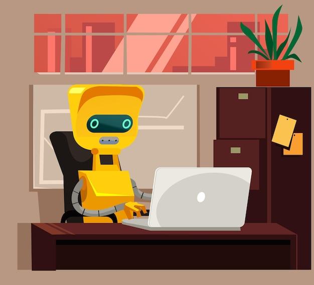 Inteligentny robot siedzi i pracuje przy komputerze zamiast człowieka, człowieka