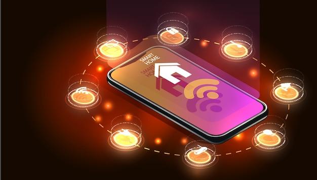 Inteligentny smartfon sterowany domem. technologia internetu rzeczy systemu automatyki domowej. mały dom stojący na ekranie telefonu komórkowego i połączeń bezprzewodowych z ikonami urządzeń rtv. jot