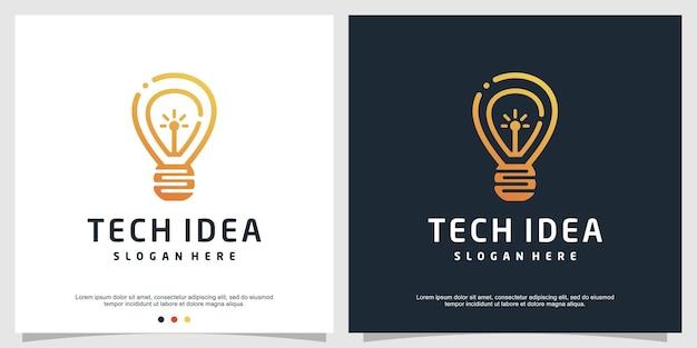 Inteligentny szablon logo tech z kreatywną nowoczesną koncepcją premium wektor