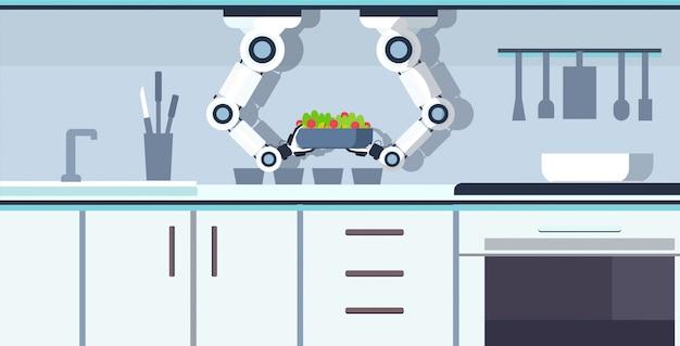 Inteligentny szef kuchni robot trzymając się za ręce miskę ze świeżą sałatką kuchnia asystent koncepcja automatyzacja robot innowacja technologia sztuczna inteligencja nowoczesna kuchnia wnętrze poziome