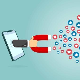 Inteligentny telefon komórkowy z magnesem przyciągającym serca i sympatie. koncepcja marketingu w mediach społecznościowych. prosta płaska konstrukcja. ilustracji wektorowych. idealny do twojego postu w mediach społecznościowych.