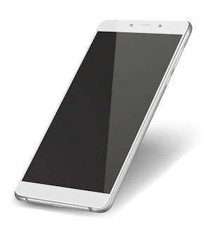 Inteligentny telefon z czarnym ekranem na białym tle.