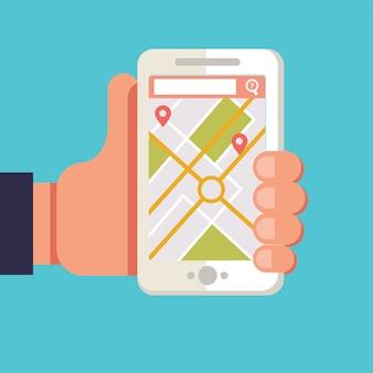 Inteligentny telefon z nawigacją mobilną