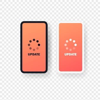 Inteligentny telefon ze znakiem aktualizacji. proces ładowania na ekran smartfona. wektor eps 10. na przezroczystym tle.