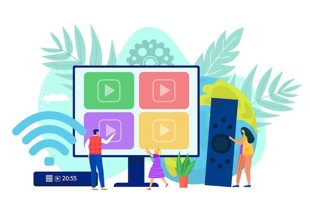 Inteligentny telewizor komputerowy przez internet ilustracji cyfrowych mediów