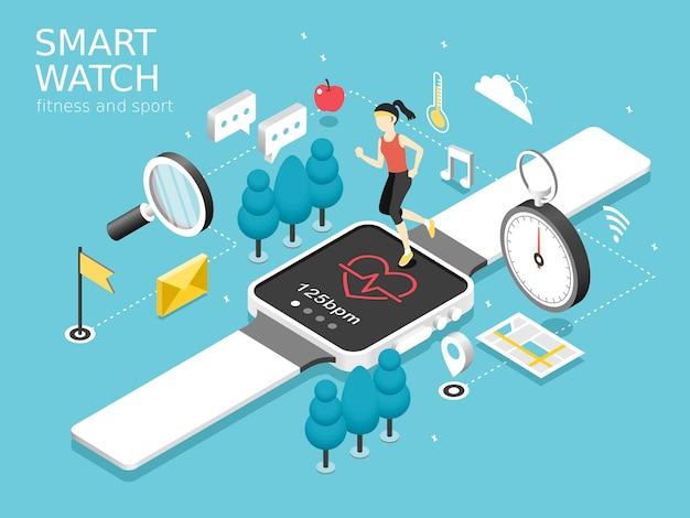 Inteligentny zegarek fitness i koncepcja sportu w grafice izometrycznej