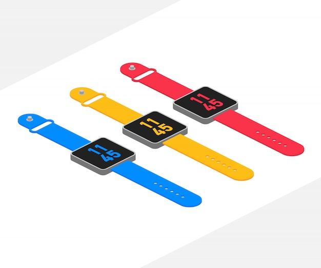 Inteligentny zegarek izometryczny wektor czas ilustracja stworzony dla urządzeń mobilnych, sieci web, wystrój, produkt wydruku