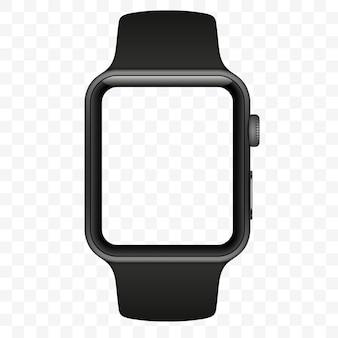 Inteligentny zegarek na białym tle z ikonami na przezroczystym białym tle. ilustracja.