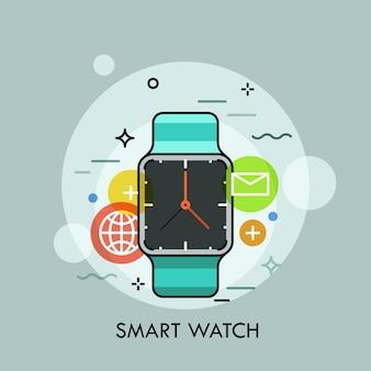 Inteligentny zegarek otoczony ikonami aplikacji. koncepcja przenośnego wielofunkcyjnego urządzenia elektronicznego i nowoczesnego akcesorium