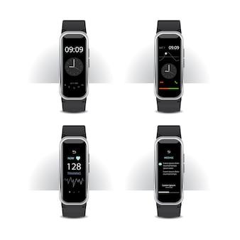 Inteligentny zegarek z cyfrowym wyświetlaczem zestaw ilustracji