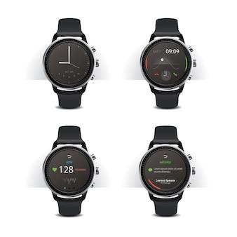 Inteligentny zegarek z cyfrowym zestawem ilustracji wektorowych