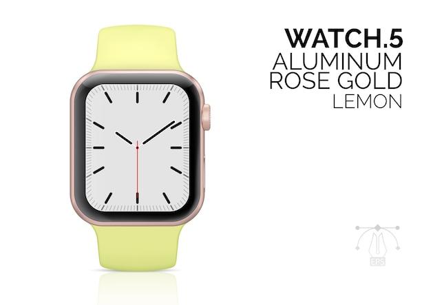 Inteligentny zegarek z realistyczną ilustracją bransoletki w kolorze cytryny.