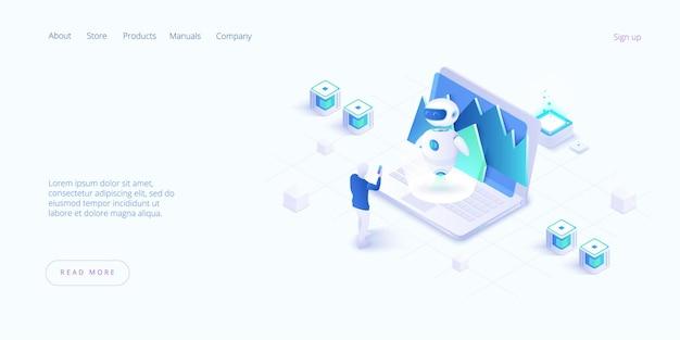 Interakcja interaktywna z człowiekiem. obrazy człowieka robota pracującego w biurze, strona docelowa