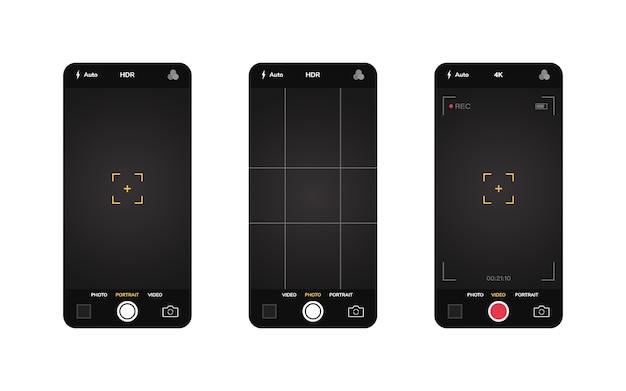 Interfejs aparatu w telefonie. aplikacja mobilna. fotografowanie i nagrywanie filmów. ilustracja graficzna.