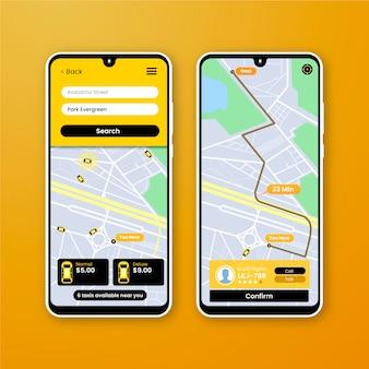 Interfejs aplikacji dla taksówek