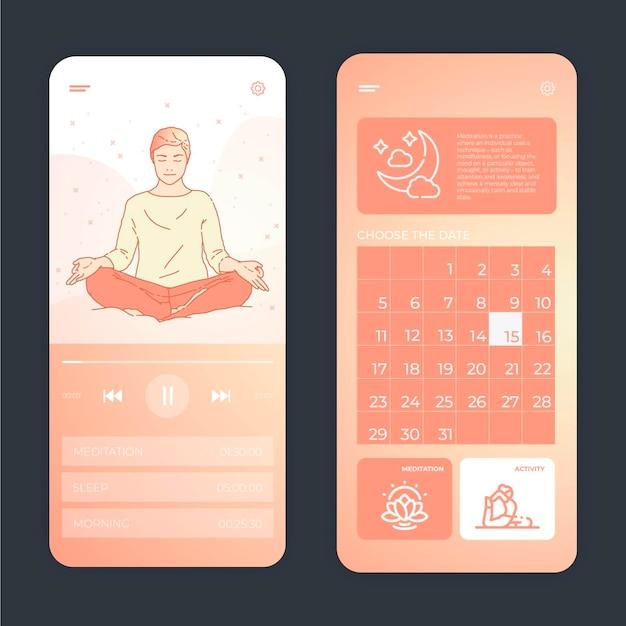 Interfejs aplikacji do medytacji w pastelowych kolorach
