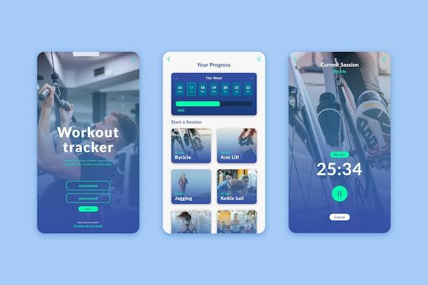 Interfejs aplikacji do śledzenia treningu