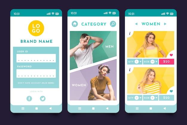Interfejs aplikacji do zakupów mody