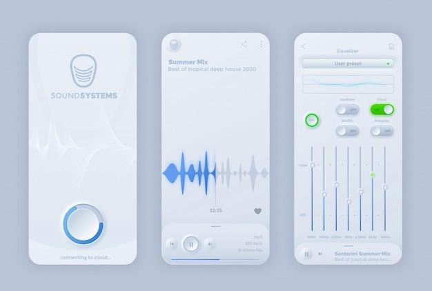 Interfejs aplikacji interfejsu użytkownika odtwarzacza muzyki z interfejsem neomorfoizmu