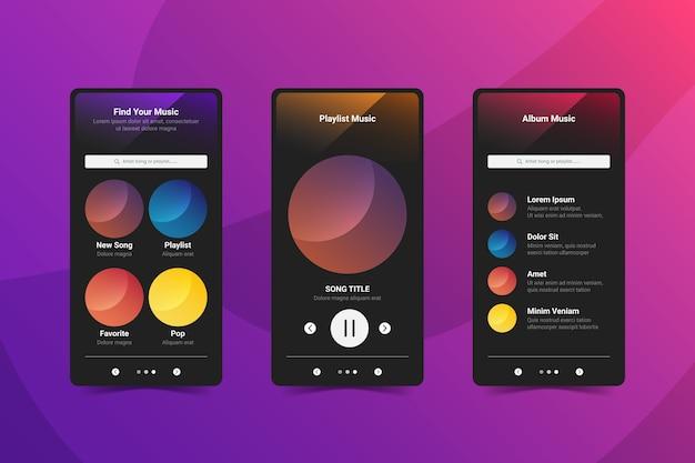 Interfejs aplikacji odtwarzacza muzyki na telefonie komórkowym