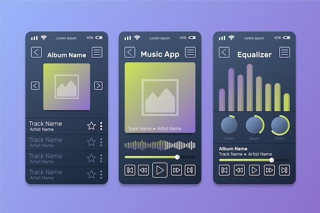 Interfejs aplikacji odtwarzacza muzyki z falami dźwiękowymi