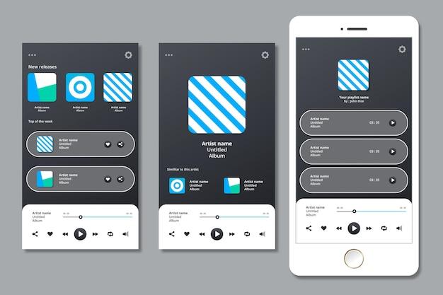 Interfejs aplikacji odtwarzacza muzyki