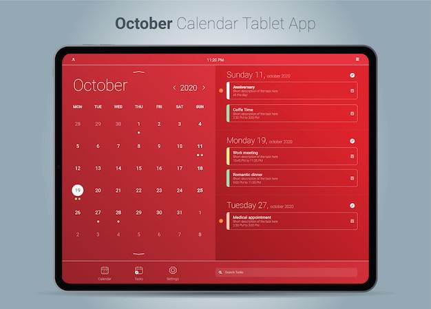 Interfejs aplikacji tabletu z kalendarzem październikowym
