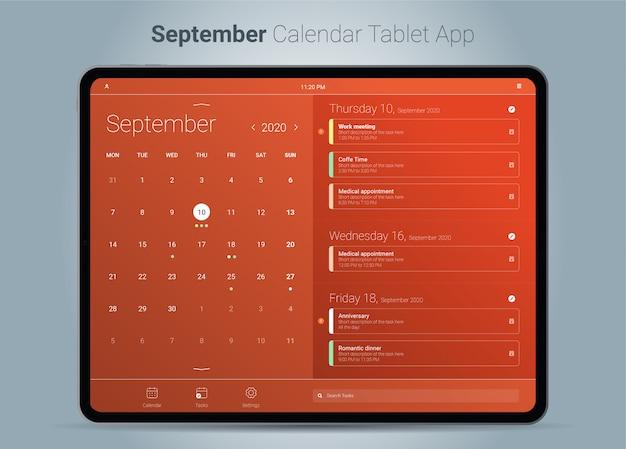 Interfejs aplikacji tabletu z kalendarzem września