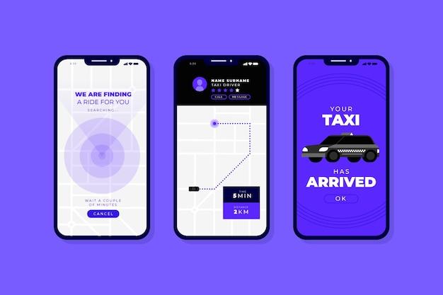 Interfejs aplikacji taksówkowej