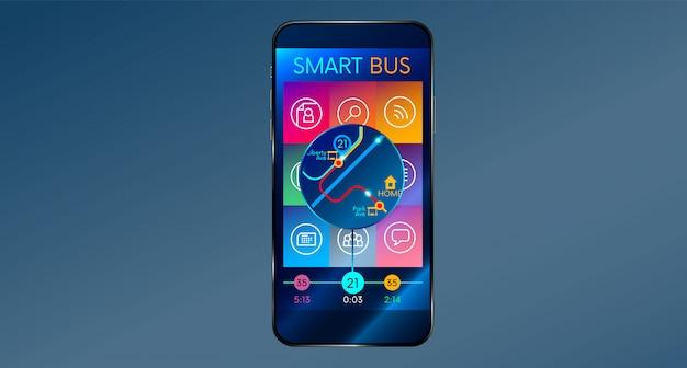 Interfejs aplikacji telefonicznej na telefon komórkowy inteligentny autobus,