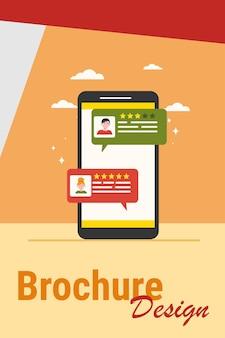 Interfejs czatu online. ekran smartfona z ilustracji wektorowych pęcherzyków okna dialogowego użytkowników. messenger, media społecznościowe, komunikacja, koncepcja komentarzy do banera, projekt strony internetowej lub strona docelowa