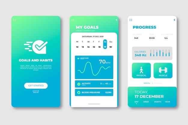 Interfejs do aplikacji do śledzenia celów i nawyków