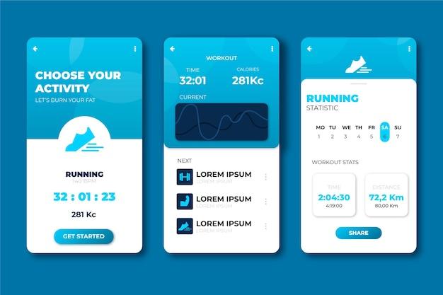 Interfejs do aplikacji do śledzenia treningu