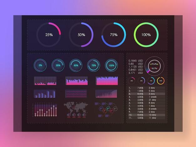 Interfejs ekran z barwioną infographic cyfrową ilustracją. kolorowy plansza